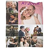 Personalized Throw Blanket with Pictures, Custom Photos Blankets for Wedding, Lovers, Boyfriends, Girlfriends, Valentine Day, Customized Collage Blanket Upload Your 9 Images - 50'x40'