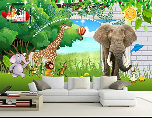 Muurschildering achtergrond muursticker cartoon olifant giraf fotobehang wandfoto 3D kinderkamer slaapkamer sticker behang 300 x 210 cm.