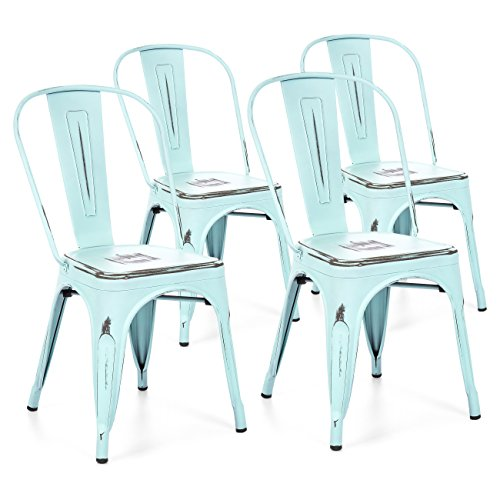 Best Choice Products Set of 4 Industrial Distressed Metal Bistro Dining Side Chairs