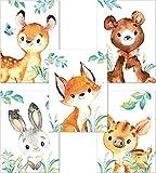 Lalelu-Prints 5er Set Bilder Kinderzimmer Deko Junge Mädchen DIN A4
