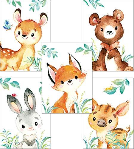 LALELU-Prints | A4 Bilder Kinderzimmer Deko Mädchen Junge | Zauberhafte Wald-Tiere | Poster Babyzimmer | 5er Set Kinderbilder (DIN A4 ohne Rahmen)