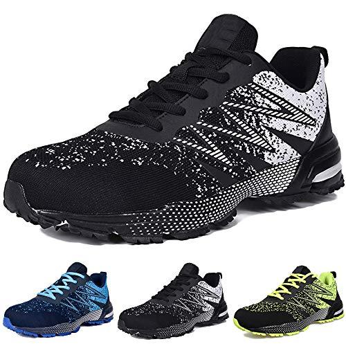 SUADEX Laufschuhe Herren Sneaker Herren Leichtgewicht Sportschuhe Atmungsaktiv Gym Turnschuhe Straßenlaufschuhe Outdoor Fitnessschuhe,Schwarz,44EU