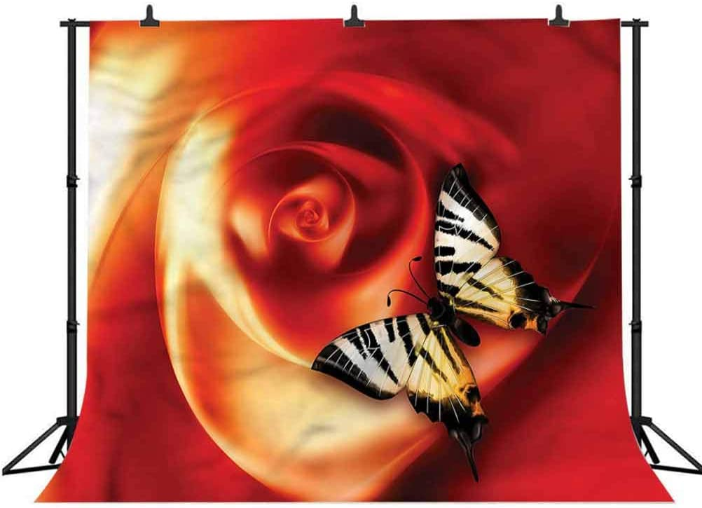 8x8FT Vinyl Backdrop Photographer,Butterflies,Abstract Rose Figure Background for Party Home Decor Outdoorsy Theme Shoot Props