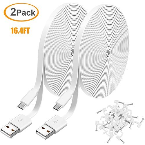 2 Pack 16.4FT Power Extension Cable for WyzeCam,WyzeCam Pan,KasaCam Indoor,NestCam Indoor,Yi Camera, Blink,Amazon Cloud Cam, USB to Micro USB Durable Charging and Data Sync Cord for Security Camera