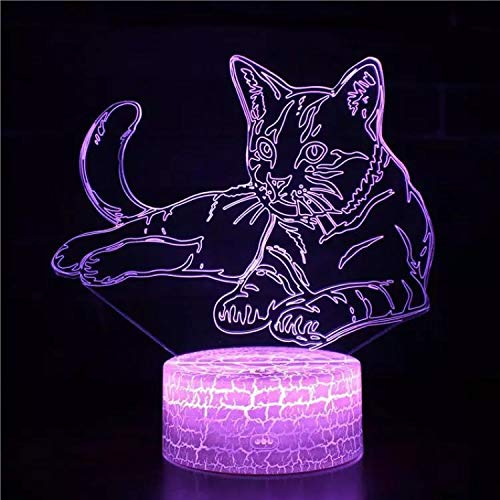 Cool comic cartoon cat lámpara de mesa pequeña acrílico multicolor pequeña luz de noche decoración creativa lámpara de mesa pequeña luz LED luz visual 3D