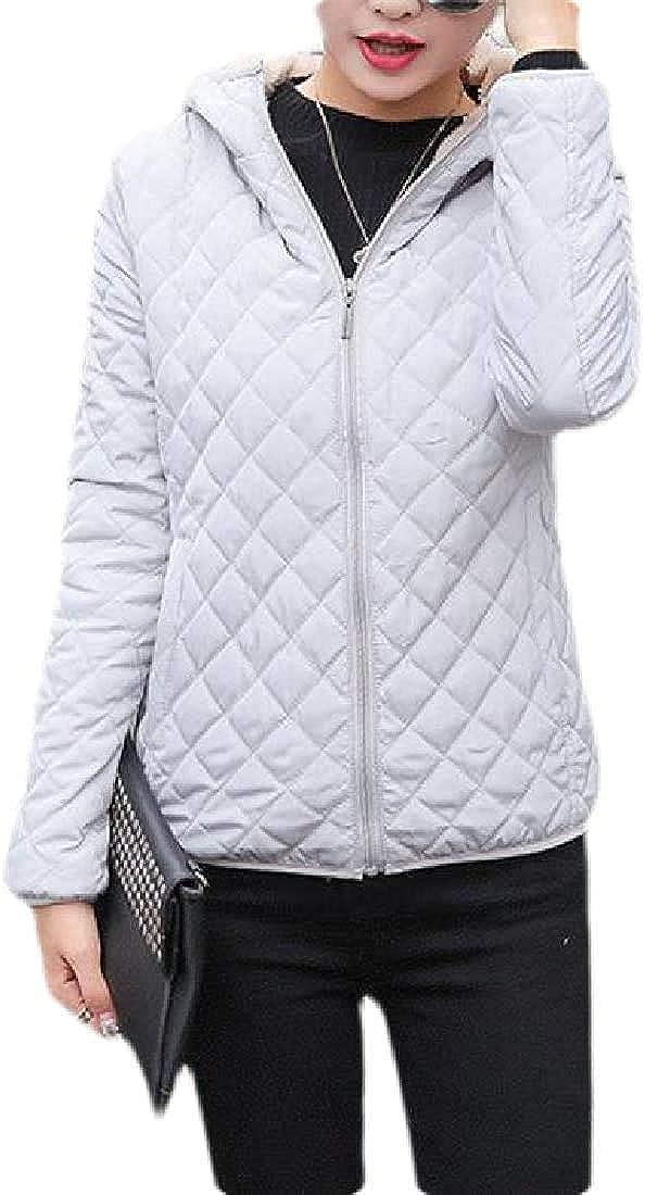 Yhsuk Women Fleece Lined Warm Lamb Wool Hoodie Down Quilted Coat Jacket Outwear