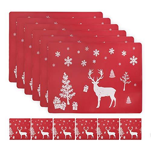 Weihnachten Platzdeckchen Abwaschbar Tischsets with 6 Stück Tischuntersetzer and 6 Stück Platzset, Rutschfeste Hitzebeständige Elch-Tischset Geeignet für Weihnachtsferien Küchentischdekoration