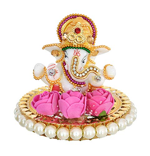 UniqueArt Exclusive Handcrafted Blessing Lord Ganesha On Bangles ShowPiece Figurine(3.5 * 3.5 * 3.5 Inches) l Home Decor I Ganesha...
