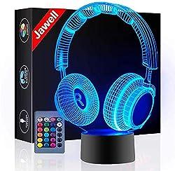 Kopfhörer 3D Illusion Lampe Weihnachtsgeschenk Nachtlicht Neben Tischlampe, Jawell 16 Farben Auto Ändern Touch Schalter Schreibtisch Dekoration Lampen Geburtstagsgeschenk mit Fernbedienung