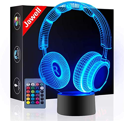 Headphone 3D Illusion Lamp Christmas Gift Night Light Beside Table Lamp, Jawell 16 Colors Auto Changing Touch Switch Desk Decoration Lamps Birthday Gift with Remote Control