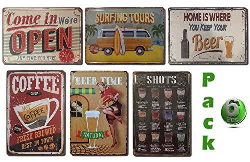 Chapas Decorativas Vintage [ Bar, Cafetería, Restaurante, Cocina ] Pack de 6 Chapas con Relieve y Autocolgables | Placas Metálicas Retro para Pared | 20x30 cm