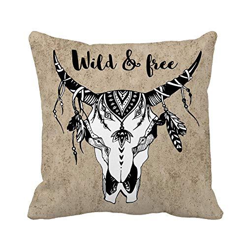 N\A Throw Pillow Cover Animal Boho Chic Tribal Tattoo Arrow Bohemian Bone Buffalo Funda de Almohada Funda de Almohada Cuadrada Decorativa para el hogar Funda de cojín
