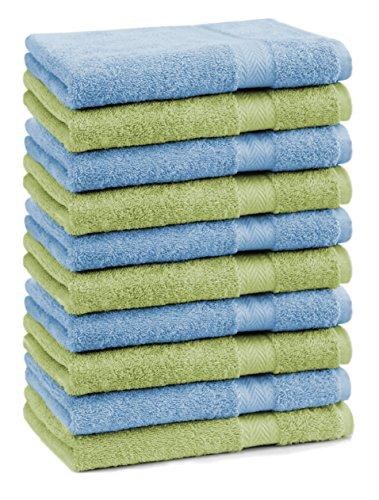 Betz Lot de 10 Serviettes débarbouillettes lavettes Taille 30x30 cm 100% Coton Premium Couleur Bleu Clair et Vert Pomme