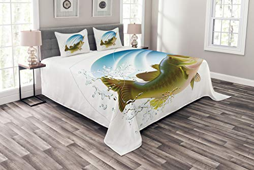 Ambesonne Fishing Bedspread, Largemouth Sea Bass Catching a Bite in Water Spray Motion Splashing Wild Image, Decorative Quilted 3 Piece Coverlet Set with 2 Pillow Shams, Queen Size, Green Blue