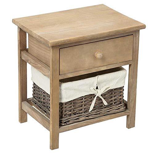 Atmosphera Mesita de noche de madera marrón con 1 cajón organizador + 1 cesto a modo de cajón