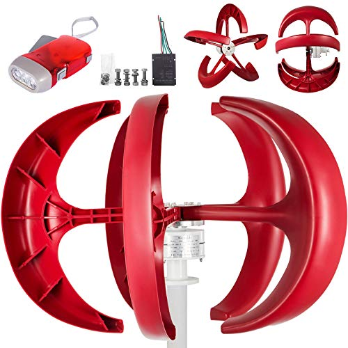 FORAVER 600W 12V Lantern Wind Turbine Generators 5 Blades Vertical Lantern Style Red Color Axis Boat Garden