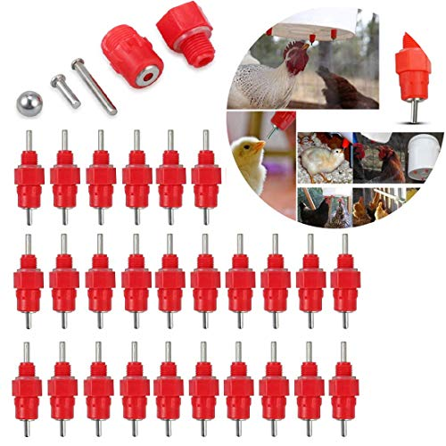 LinaLife 30 Pack Water Nipple Valves Auto Drinker Waterer Feeder Poultry Chicken Duck Bird 360 Degree Poultry Nippler