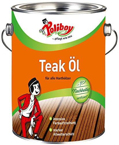 Poliboy - Teak Öl für alle Harthölzer - zur intensiven Farbauffrischung - reinigt, pflegt und schützt - 2,5 Liter - Rundose - Made in Germany
