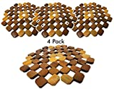 Bamboo Trivet Mat for hot dishes (4 Pack) table counter protector, coaster hot tea or coffee pot, plates & pans (8 inch)
