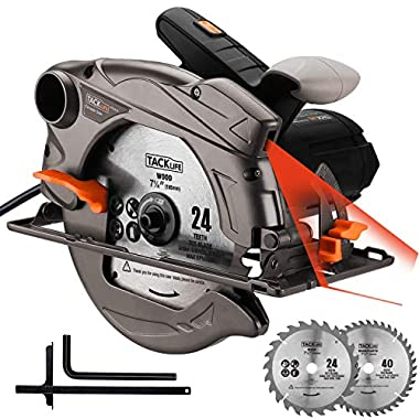 Circular Saw, 7-1/4 (7-1/2 ) Saw with Lightweight Aluminum Guard, 10feet Cord Length, Laser Guide, Max Cutting Depth 2-1/2''(90°), 1-4/5''(45°), 2 Blades -Tacklife PES01A