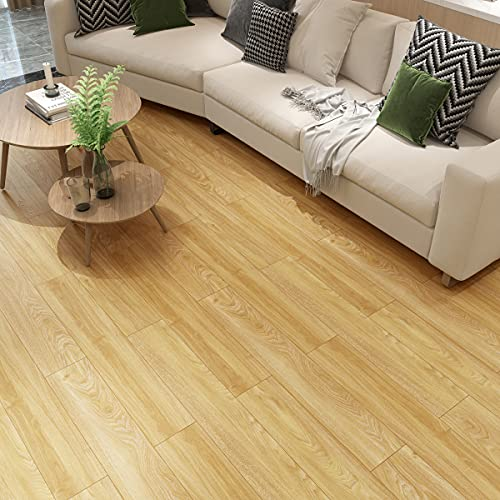 Self-Adhesive 15 Square Feet Vinyl Floor Tiles, 2.0mm Thick Odorless Vinyl Floor Planks, Adhesive Flooring Tiles for Home, Bedroom, Kitchen and Interior Spaces (Wood)