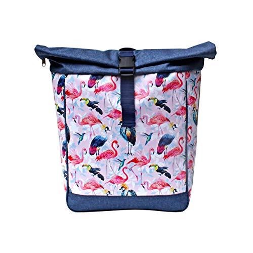 IKURI Fahrradtasche/Rucksack KOMBI Fahrradrucksack aus Plane für Gepäckträger Packtasche Wasserdicht für Frauen - Modell Pajaros