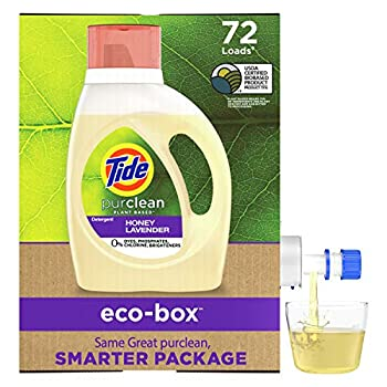 Tide Purclean Plant-Based EPA Safer Choice Liquid Laundry Detergent Soap Eco-Box Ultra Concentrated High Efficiency  HE  72 Loads