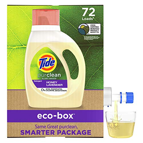 Tide Purclean Plant-Based EPA Safer Choice Liquid Laundry Detergent Soap Eco-Box, Ultra Concentrated High Efficiency (HE), 72 Loads