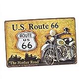 Sharplace Panneau Métallique Peinture Plaque D'étain Vintage Mural Affiche D'art Café Bar Pub Bière - ROUTE 66 avec la moto grise