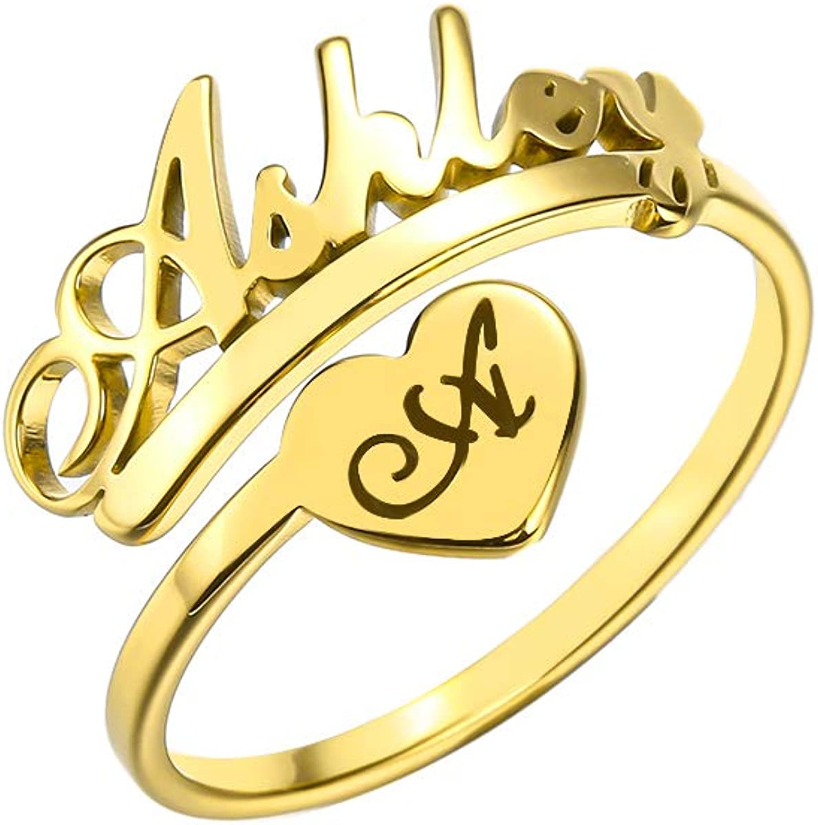 CHUANGYUN Custom Name Rings for Women Engagement Birthday Gift Any Name Customized