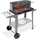 Deuba Grill Barbecue BBQ a carbone con route Griglia XXL e piano di lavoro incl. Spiedo portatile giardino picnic