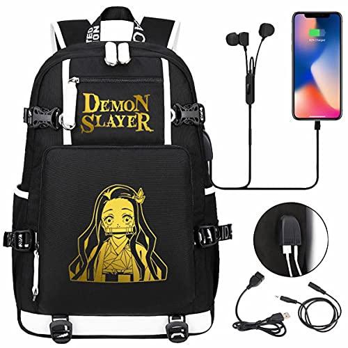 AHLBVTM Mochila escolar Demon Slayer, mochila de moda informal con puerto de carga USB, ultrafino, resistente al agua y duradero