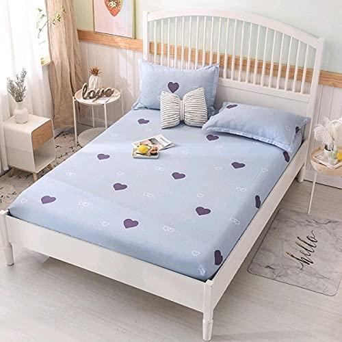 DSman Protector de colchón de Rizo algodón y Transpirable Sábana de algodón Floral Transpirable-6_100x200cm