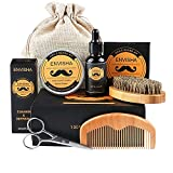 Moshbu Kit de aseo de barba para hombres – 7 piezas juego de aseo de barba, aceite de barba, cepillo de barba, cera de bálsamo de barba, peine de barba, kit de aseo de barba