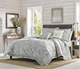 Tommy Bahama | Floreanna Bedding Collection Quality Ultra Soft Breathable Cotton Comforter, All Season Premium 5 Piece Set, Designed for Home Hotel Décor, Queen, Grey