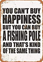 家の装飾-あなたは幸福を買うことはできませんが、釣り竿を買うことはできます。コーヒーショップバークラブのためのインチヴィンテージメタルティンサインプレート壁の装飾プラーク