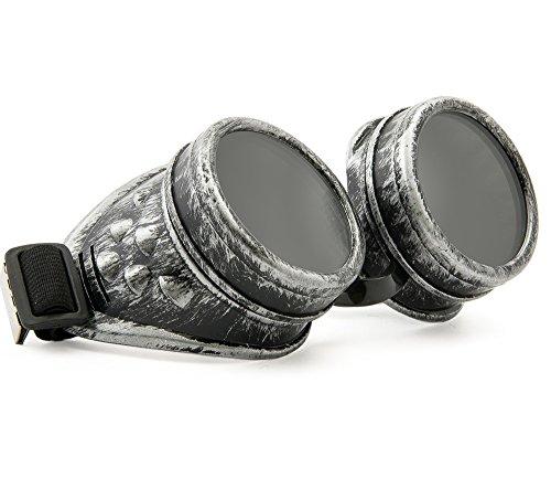 MFAZ Morefaz Ltd Gafas de Sol Welding Cyber Goggles Goth Steampunk Cosplay Goth Antique Victorian with Spikes (Grey)