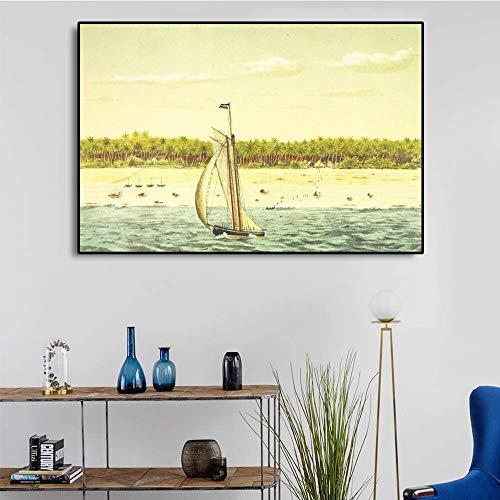 ganlanshu Ölgemälde Leinwand Kunst Küstenlandschaft Segelkunst Poster Bild Moderne Hauptwanddekoration,Rahmenlose Malerei,60x90cm
