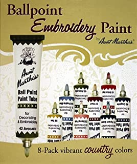 Aunt Martha's Ballpoint 8-Pack Embroidery Paint, Country Colors by Aunt Martha's