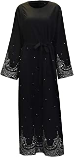 zhbotaolang Spring Autumn Beading Embroidery Dress Women Elegant Muslim