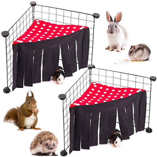 LZYMSZ Hamaca para Tienda de Hámster, 2 Carpas para Escondite de Animales Pequeños, Jaula de Juguete para Casa de Esquina Bosque Forro Polar para Conejillo de Indias Conejo Ratas Erizos(rojo)