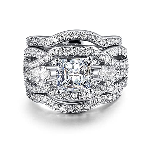 3 Piece S925 Silver Engagement Rings Set Princess Cut Synthetic Diamond Halo Infinity Wedding Bridal Ring Band for Women Size 6