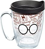 Tervis 1257888 Harry Potter - Glasses and Scar Insulated Tumbler with Wrap and Black Lid, 16 oz Mug - Tritan, Clear