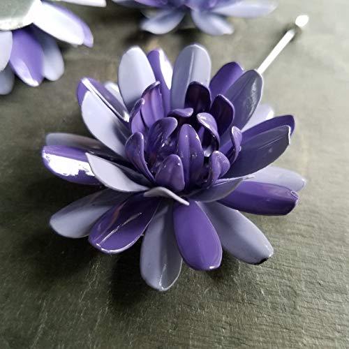 Purple Lapel Pin Enamel Painted Metal Flower