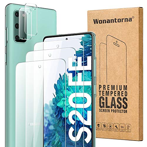 Wonantorna para Samsung Galaxy S20 FE/S20 FE 5G Cristal Templado, 3X Vidrio Templado +2X Protector de Lente de Cámara, [9H Dureza] [Sin Burbujas] Protector de Pantalla para Samsung Galaxy S20 FE 5G