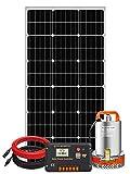 Pumplus 100W Solar Water Pump Kit - 100W Solar Panel + 12V Water Pump + 20A Pump Controller for Shallow Well, Water Garden, Irrigation, Tank Filling