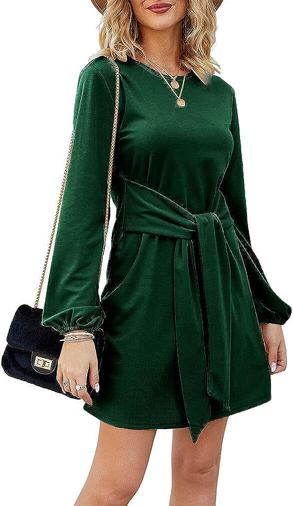 Tobrief Women's Fall Lantern Long Sleeve Tunic Short Dress Knitted Tie Waist Sweater Dress
