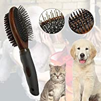【Miyatob】ペット用 ブラシ 犬 ブラシ 両面【抜け毛とりグルーミングくし】ペットお手入れブラシ ペットブラシ 豚毛ブラシ マッサージ ペットバスグッズ ノミ取り 犬、猫長毛、短毛などに適用