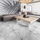 Ambiance Fliesenaufkleber Zementfliesen Marmor weiß rutschfest mit Schutzlaminat aus Kunststoff