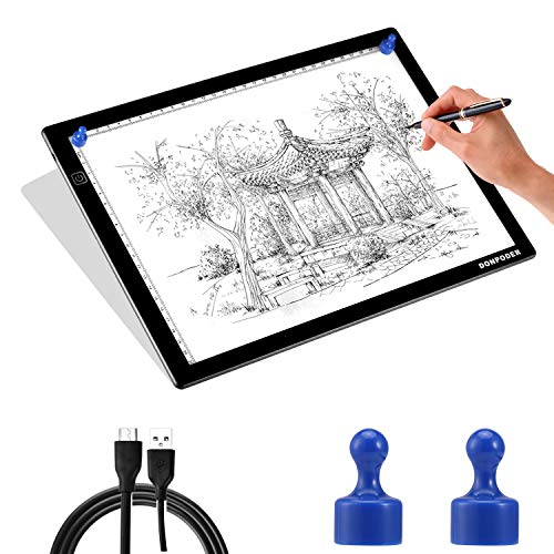 A4 Light Box for Tracing lightbox Tracer Light Board for Diamond Painting Art Ultra Thin Light Pad for Drawing Sketching Animation Stencilling with 2 Magnetic Pins (2nd GEN Light pad-A4M)